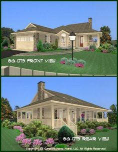 Small Country Style House Plan 2 Bedroom, 1 Bath, 1 Story