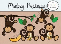 Monkey Business - Digital Clipart from TheCreativeArtTeacher on TeachersNotebook.com -  (1 page)  - If you like my Animal Rounds Set you are going to love this adorable Monkey Business Set.