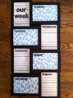 "My ""our week"" dry erase calendar.  Frame, scrapbook paper, stickers from Michael's.  Cost maybe $35, took about 20 minutes to make.  Yay, Pinterest!"