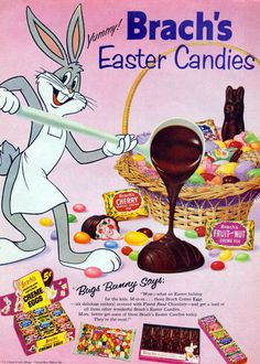 Brach's Easter Candy ad starring Bugs Bunny (1950s). #vintage #1950s #Easter #candy #food #ads