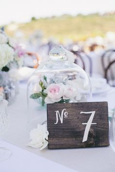 White painted wood table numbers #tablenumbers