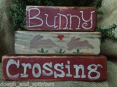 Primitive Country Easter Rabbit Bunny Crossing Shelf Sitter Wood Blocks