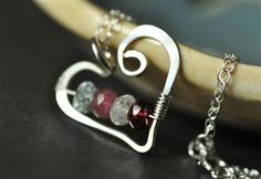 OPEN HEART custom mother's / grandmother's birthstone necklace with genuine gemstones -- by Mu-Yin Jewelry