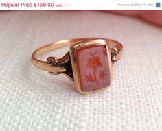 Insta 1000 Sale Antique Early 1900s Victorian 10K Gold and Sardonyx / Hardstone Floral Intaglio Ring on Etsy, $134.40