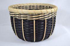 Black and White Round Handmade Basket via Etsy.