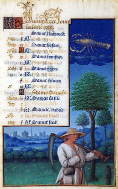 The Labours of the Months, June   Hours of Louis XII (formerly Hours of Henry VII)  France, Tours, s. XV/XVI, searchable Date Range: 1490-1510 Artist: Jean Bourdichon Philadelphia, Free Library of Philadelphia, Rare Book Department Lewis E M 011:19