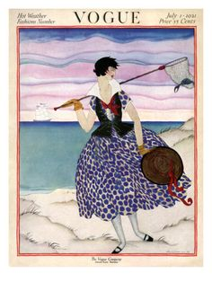 July 1, 1921  The stunning color palettes used by Helen Dryden in her fashion illustrations made for eye-catching vintage Vogue covers. Here, a woman wears a fitted black vest over a blue polka-dot dress and creates interest with red ribbons around her hat and décolletage. She holds a net containing a crab as she strolls along the beach, a tri-masted ship sailing in the background. The tranquil scene appeared on the July 1, 1921, Vogue cover, which announced the Hot Weather Fashions Number. magazin cover, helen dryden, vintag vogu, art deco fashion, juli 1921, vogu cover, fashion drawings, vintage vogue, vogue covers