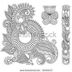 Hand drawn abstract henna mehndi black flowers doodle Illustration design element - stock vector