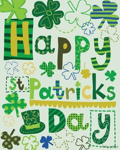 Happy St. Patricks Day - Print of original illustration by Lesley Grainger. $15.00, via Etsy.