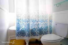 Stencil Shower Curtain using Tulip for  Your Home stencils #tulipforyourhome