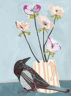 Bird and Flowers painting by Unity Coombes.