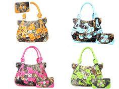 Western Camouflage Flower Rhinestone Purse W Matching Wallet  #HandbagsBlingMore #Hobo