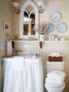 so pretty. Mirror. Lighting. Shelf. Sink w/ skirt