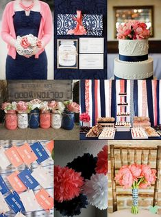 Coral, Navy and White Wedding Styling Mood Board from The Wedding Community