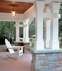 Porch: love these #columns as an alternative to the tapered standard for #Craftsman.