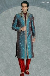 A sherwani is a very traditional, formal and stylish men's suit. It is a knee length coat worn with a churidar or a pajama.