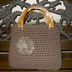 Crochet bag with ribbon