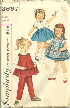 Simplicity 3697  1960s Childs Blouse Skirt Pants and cobbler apron vintage sewing pattern by mbchills,