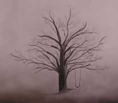 Leafless Oak Tree with Empty Swing - stunning drawing