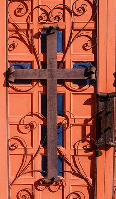 Cross on the door of St. Joseph's Church, Mescalero, NM