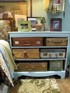 No linen closet, No problem! Repurpose this dresser for your guest room and keep your linens or other things you dont use every day in the vintage luggage...suitcases or train cases can be expensive so measure the space for the drawers and store the measurements in your cellphone so next time you are bargain hunting at the flea market you will know exactally what boxes or baskets will fit! Thats what I do ;)