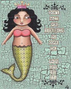 Gorgeous folk art mermaid.