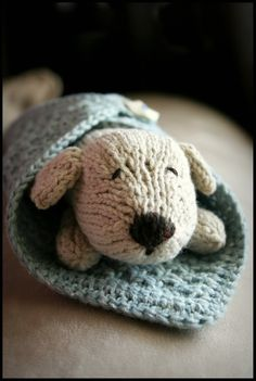 knit wrap me up pup from Itty Bitty Toys pattern.