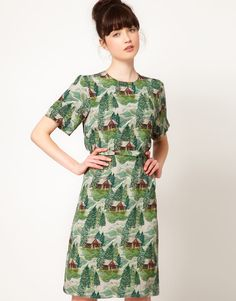 Peter Jensen Straight Dress in Lodge Print