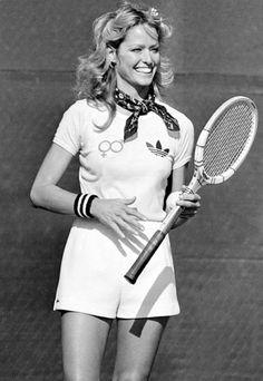 Farrah Fawcett plays tennis.