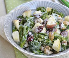 Creamy Brown Rice or Potato, Apple, and Broccoli Salad, the perfect broccoli salad. #broccolisalad