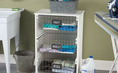 Try this DIY idea from @Dremel! Each family member gets a dedicated laundry basket to washing, folding, and and putting away easier.