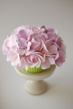 Pink Hydrangea and Rose Cupcake