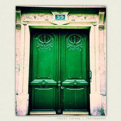 Paris Print - Emerald Green Door Photography -  No 39 -  paris decor, parisian wall art, rustic, door art on Etsy, $30.00