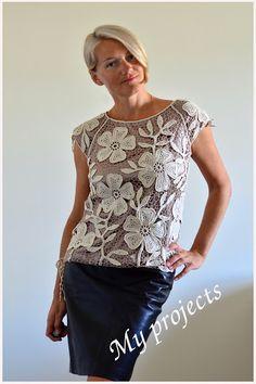 Irish Crochet Beige Flower tunic