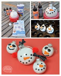 Salt art #snowman #ornaments #DIY #christmas