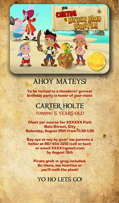 Pirate invitations, games and treasure map!