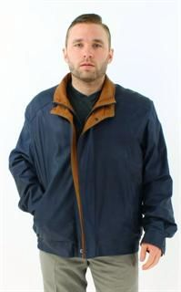 Navy and Tobacco Touchable Very Fine Leather Jacket