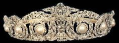 Pearl and Diamond tiara of Queen Victoria Eugenie of Spain.  Known as Ena by her family, she was a grand-daughter of Queen Victoria.