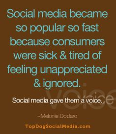 Social media became so popular so fast because consumers were sick & tired of feeling unappreciated & ignored. Social media gave them a voice. ~Melonie Dodaro