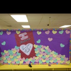 Mixing 100th day of school with Valentines day! Each heart says one act of kindness a member of class performed on the 100th day of school :) each child did 4 kind acts!