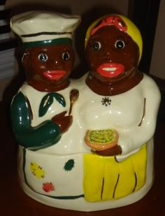 SOLD African American Aunt Jemima and Chef cookie jar Black Americana Gold from cookejarlayde Available at Jazz'e Junque in Chicago ~ www.jazzejunque.com