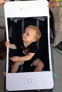 DIY iPhone stroller Halloween costume for babies. How wonderful!
