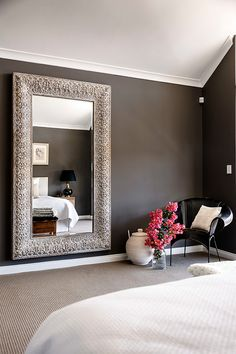 collect interior, bedroom lamps, black and gold bedroom, larg mirror