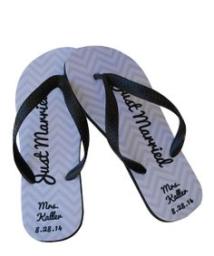 'Just Married' Personalized Flip-Flops