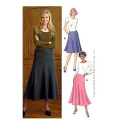 Skirts - curved panels fitted at the hip, lower panels flared. Side seam zipper