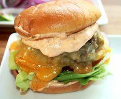 Creole Contessa: Big Goos Sausage Burger with Homemade Spicy Thousand Island Dressing~JUICY, MESSY, BIG!