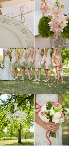 I love the nude and champagne colors of the bridesmaids dresses - Lone Oak Winery Wedding by Jonathan Ivy Photography via SMP