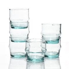 """Hand-blown recycled  Moroccan glasses, """"basta"""" size"""