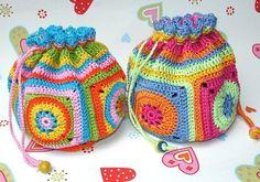 purs, crochet granny squares, crochet bags, color, treasur bag