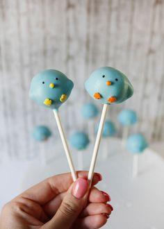 Pretty Blue Twitter Cake Pops